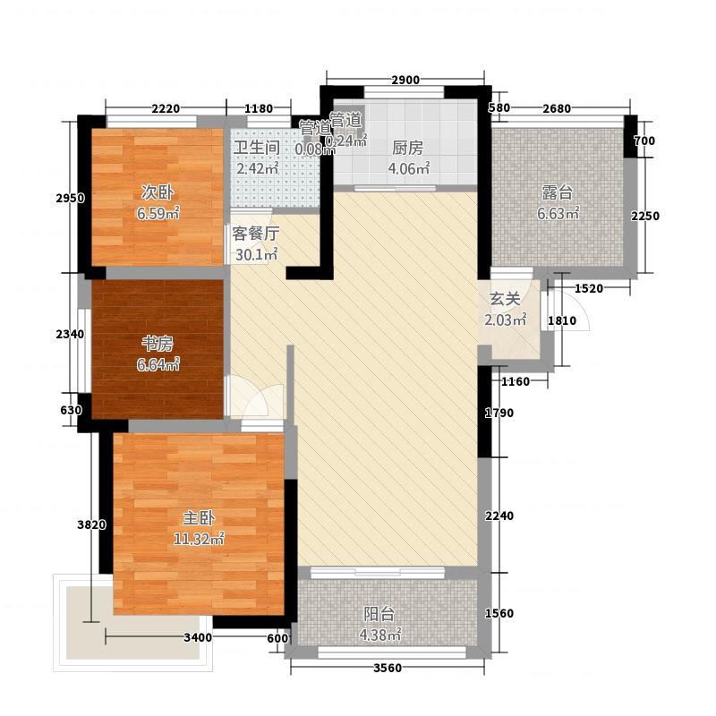 宝瑞・凯旋城15.00㎡B2户型3室2厅1卫
