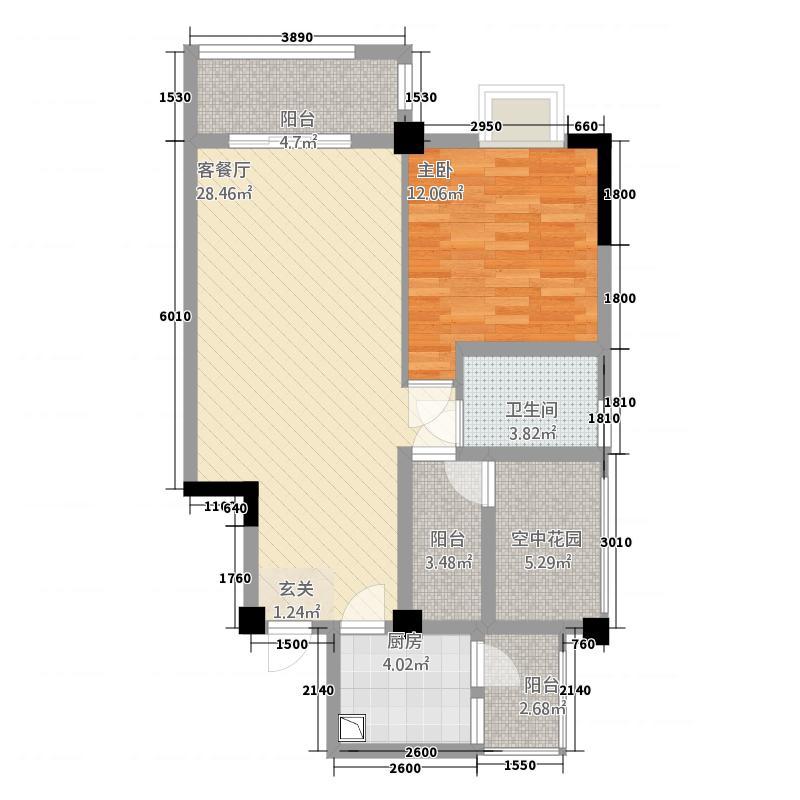 帝豪金城E户型1室2厅1卫1厨