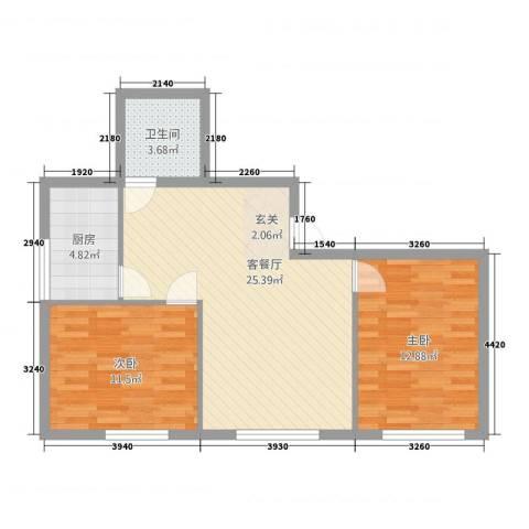 金桥银座2室1厅1卫1厨81.00㎡户型图