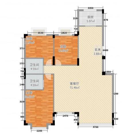 容大印象江南3室1厅2卫1厨166.00㎡户型图