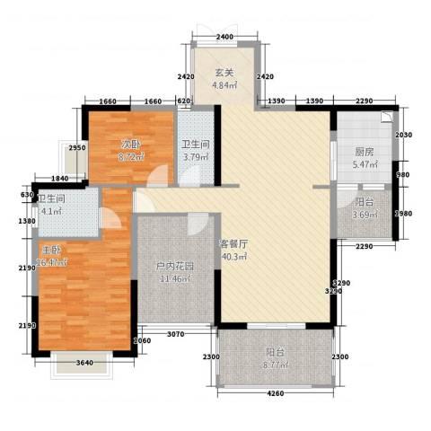 人和春天花园2室1厅2卫1厨102.78㎡户型图