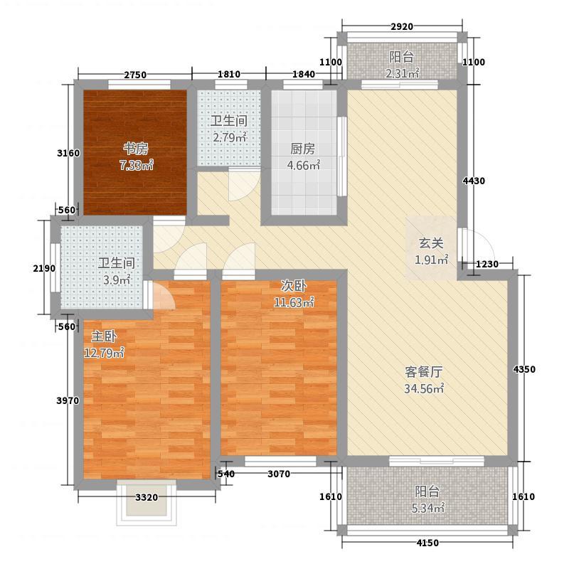 龙湖御城125.00㎡户型3室2厅2卫1厨