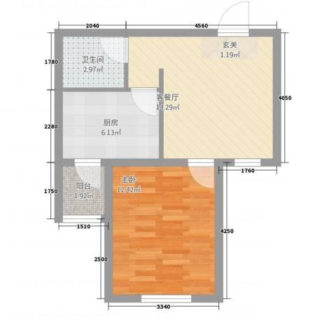 御泉苑新泉湾1室1厅1卫1厨54.00㎡户型图