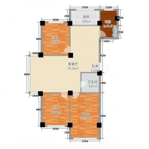 聚福园4室1厅1卫1厨133.00㎡户型图