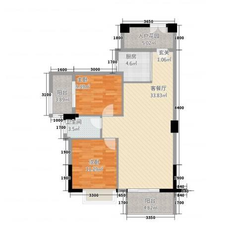 龙泉嘉苑2室1厅1卫1厨76.34㎡户型图