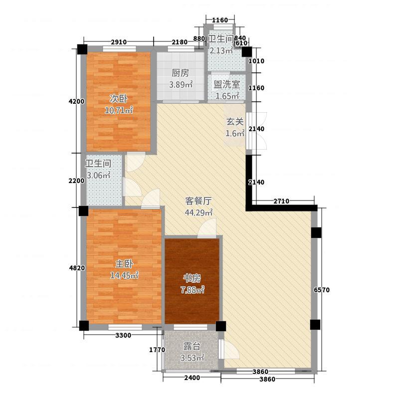 万成・曼哈顿123.62㎡L户型3室2厅2卫1厨