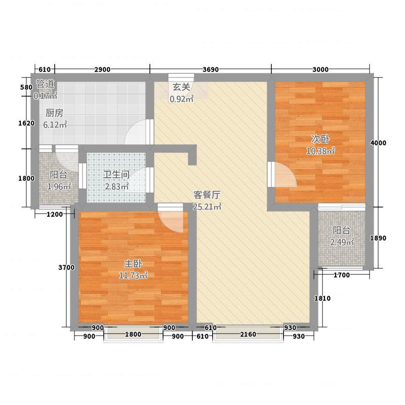 凯江盛世4285.87㎡B4户型2室2厅1卫