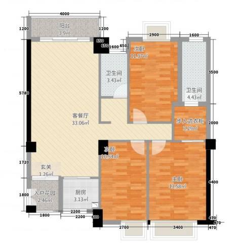 龙泉嘉苑3室1厅2卫1厨116.00㎡户型图