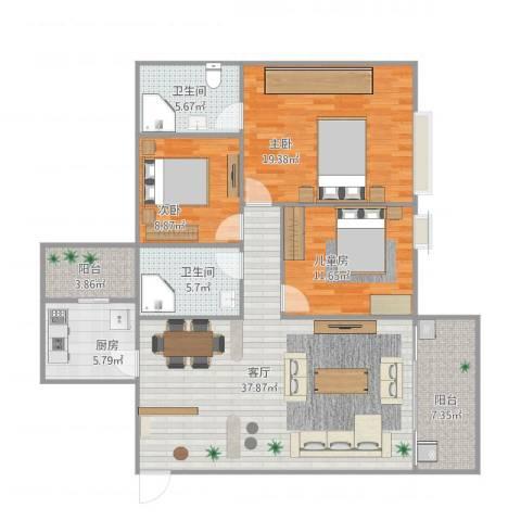 听涛雅苑3期3室1厅2卫1厨142.00㎡户型图