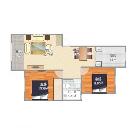 上南玲珑苑2室1厅1卫1厨86.00㎡户型图