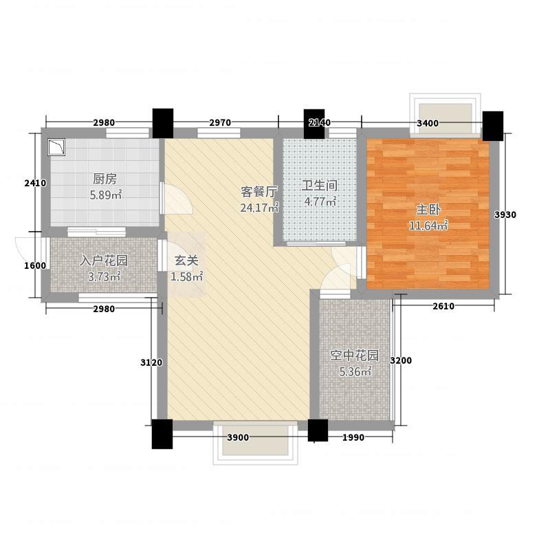 帝豪金城G户型1室2厅1卫1厨