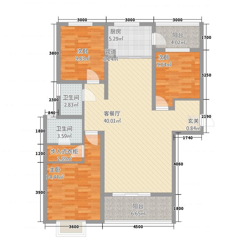 锦逸国际城138.70㎡C标准层户型3室2厅2卫1厨