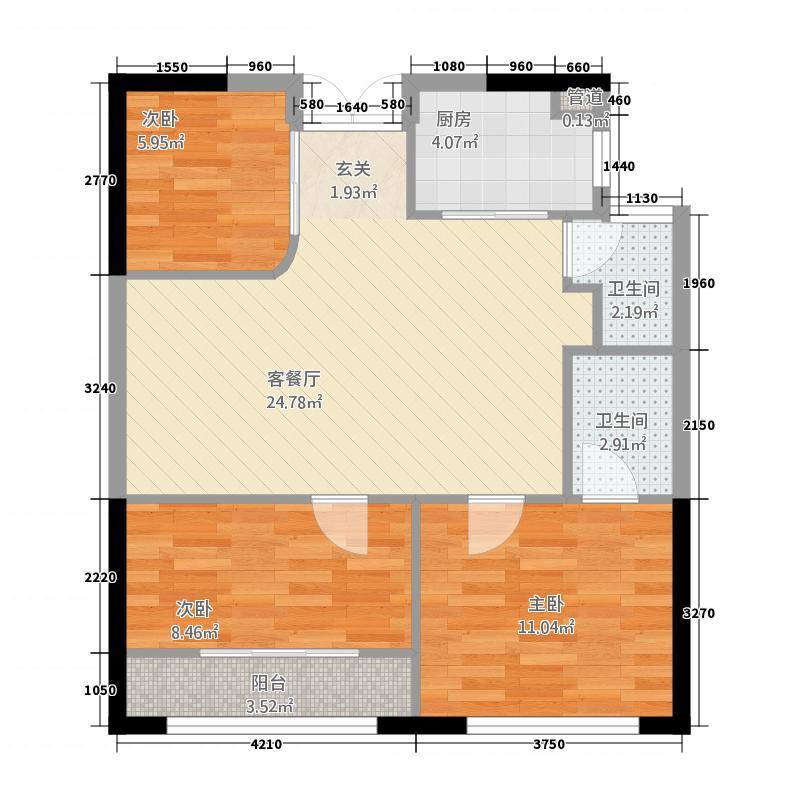 三山・江景天城1488.56㎡1-4#04/09单元3室户型3室2厅2卫1厨