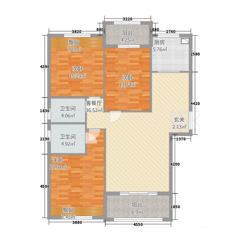 蒲城金科御苑211122.20㎡户型3室3厅2卫1厨