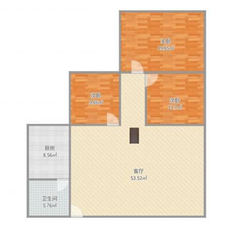 棕榈假日3室1厅1卫1厨144.00㎡户型图