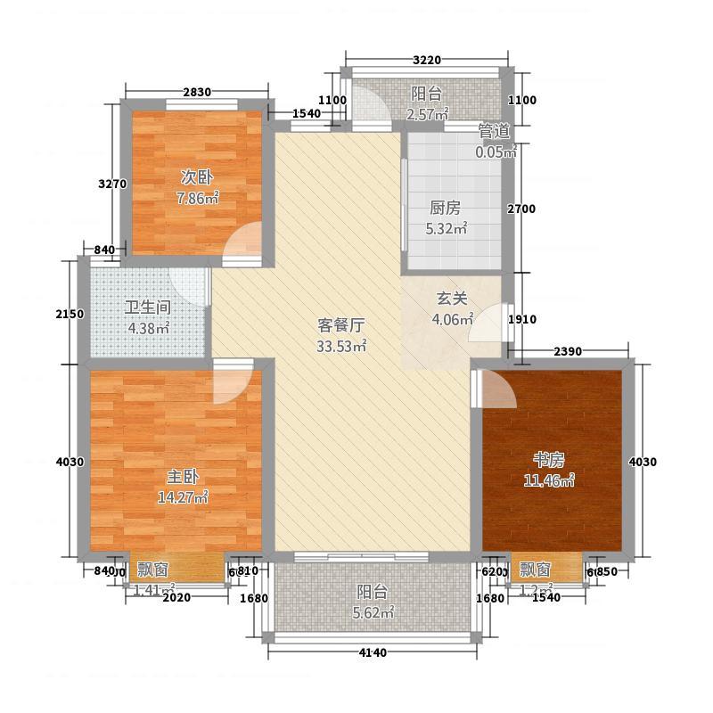 海韵嘉园121.46㎡一期标准E户型3室2厅1卫1厨