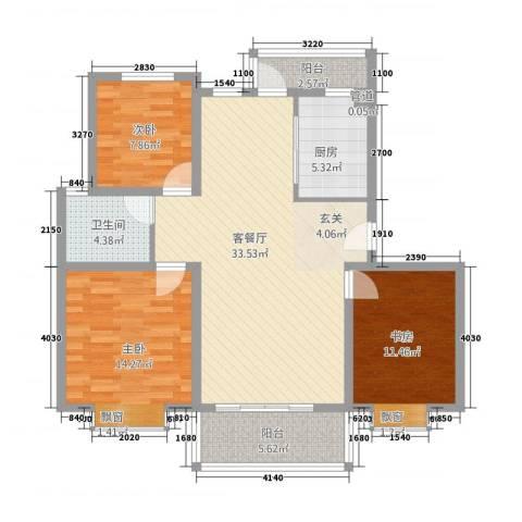 海韵嘉园3室1厅1卫1厨121.00㎡户型图