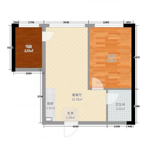 万瑞达国际公馆2室1厅1卫0厨42.52㎡户型图