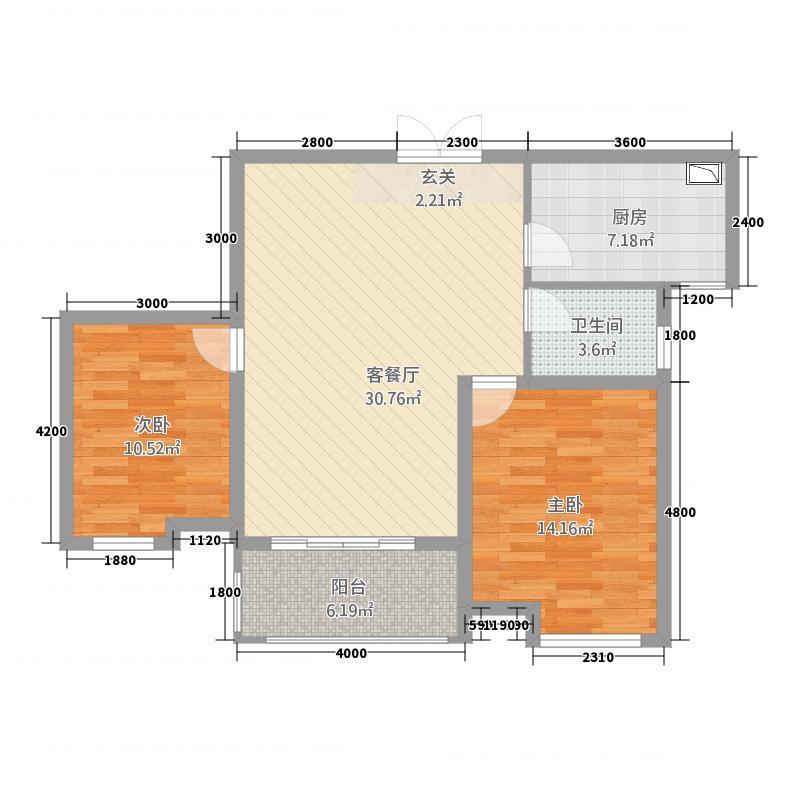 鸿申翡翠城33.42㎡户型2室2厅1卫