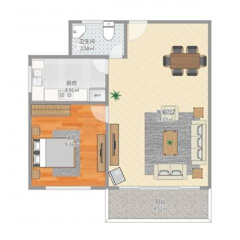 国贸新城1室1厅1卫1厨61.00㎡户型图