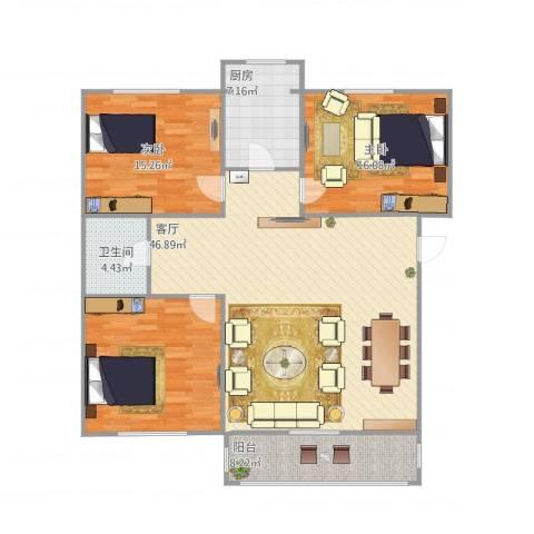 裕龙花园六区3室1厅1卫1厨152.00㎡户型图