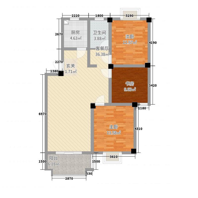 嘉和・御景园1.21㎡户型3室2厅1卫1厨