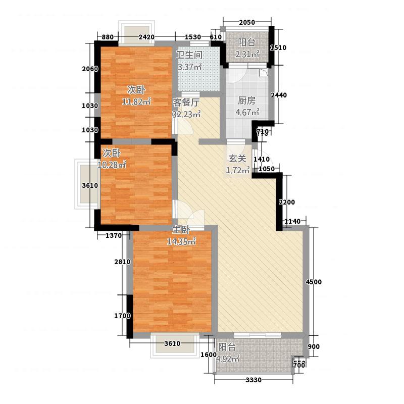 嘉和・御景园114.70㎡户型3室2厅1卫1厨