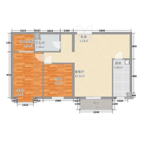 名购广场2室1厅1卫1厨73.54㎡户型图