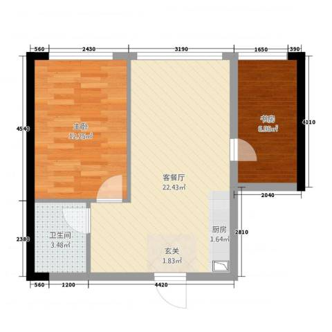 万瑞达国际公馆2室1厅1卫0厨64.00㎡户型图