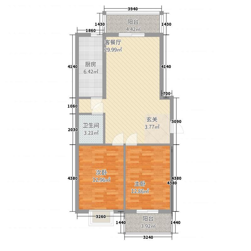 水岸明珠21.27㎡c户型2室2厅1卫1厨
