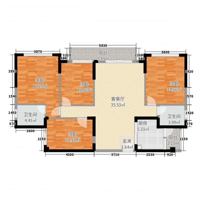 万象凯旋湾133.00㎡1栋0户型4室2厅2卫1厨