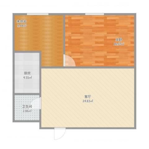双龙西路小区1室1厅1卫1厨77.00㎡户型图
