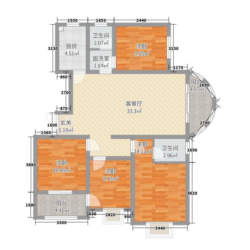 公园世家138.85㎡P2户型4室2厅2卫1厨