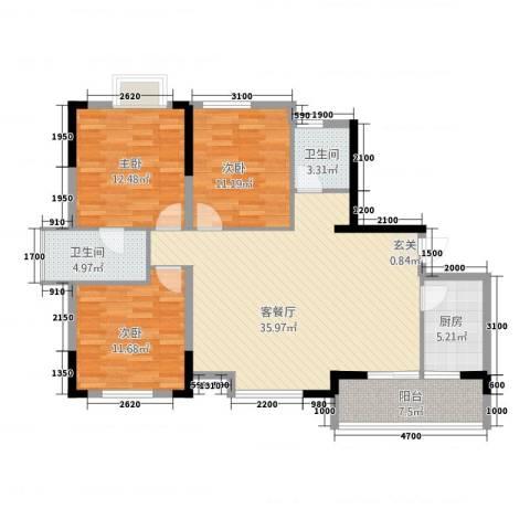 香泉公馆3室1厅2卫1厨128.00㎡户型图