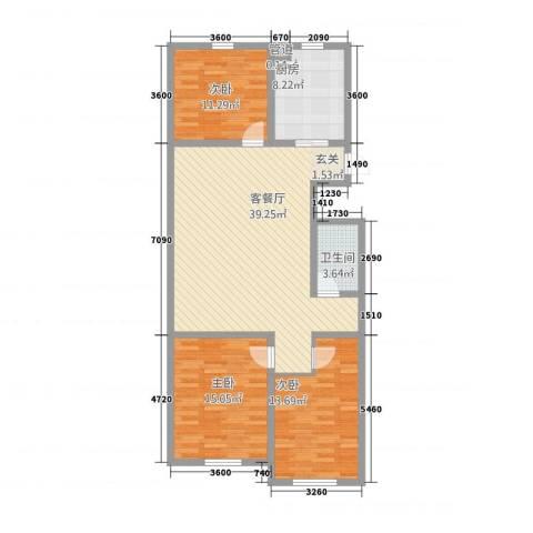 半山公馆3室1厅1卫1厨135.00㎡户型图