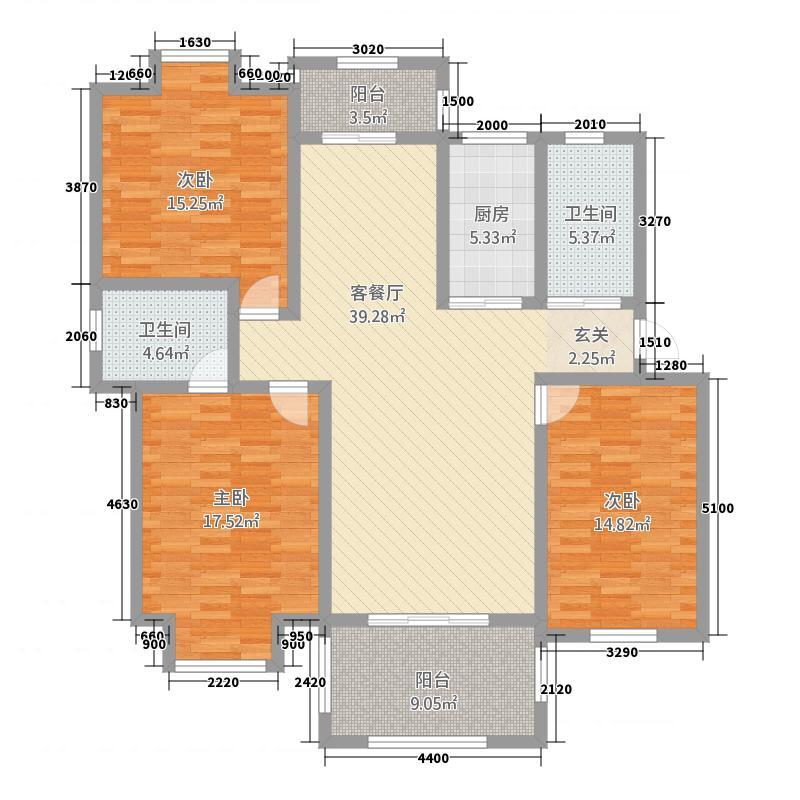 凤凰城126321128.00㎡户型3室2厅1卫1厨