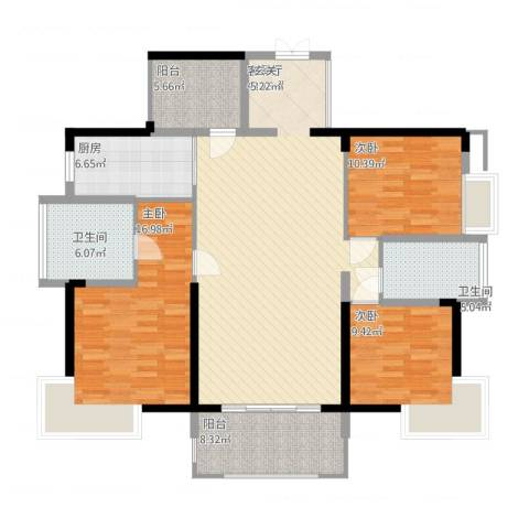 宝能太古城3室1厅2卫1厨157.00㎡户型图
