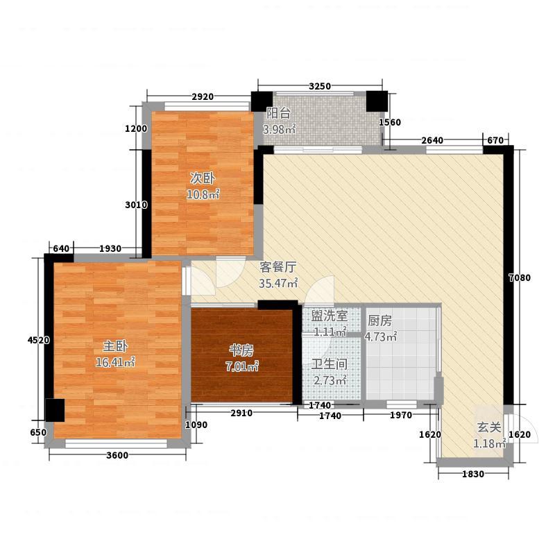 万昌东方巴黎1117.20㎡11栋1、2单元01、04室3室户型4室2厅1卫1厨