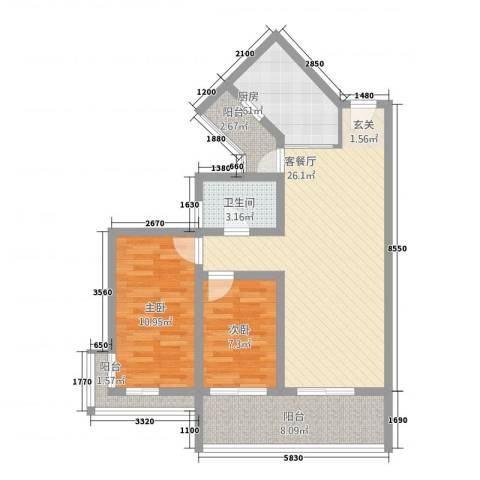 穗东大厦2室1厅1卫1厨65.45㎡户型图