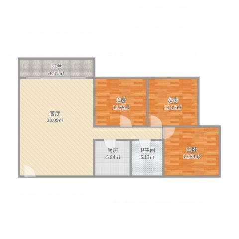 金沙新城3室1厅1卫1厨121.00㎡户型图