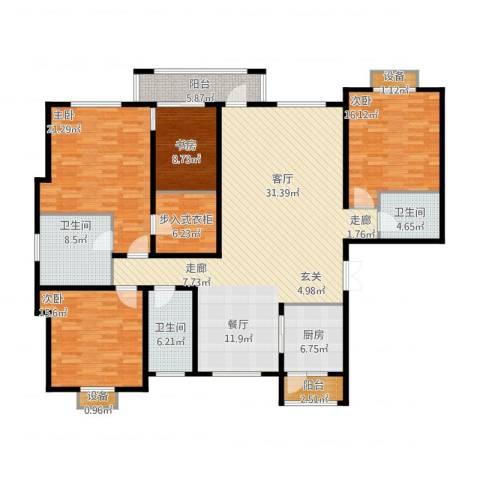 绿地英湖印象4室1厅3卫1厨225.00㎡户型图