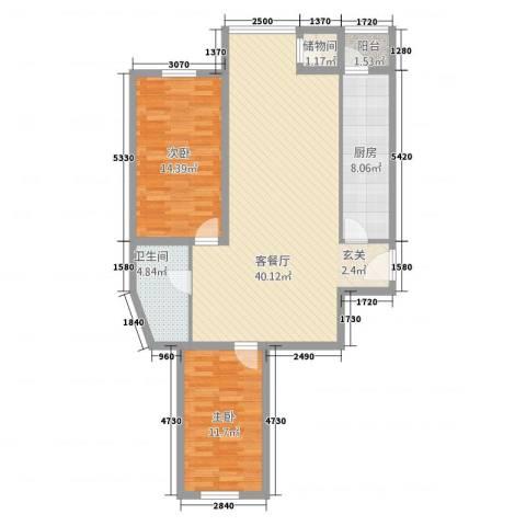 好佳明苑2室1厅1卫1厨117.00㎡户型图