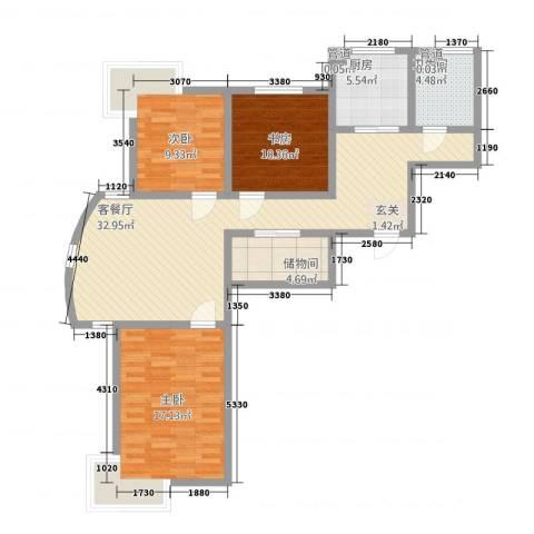 格林星城悦府3室1厅1卫1厨116.00㎡户型图