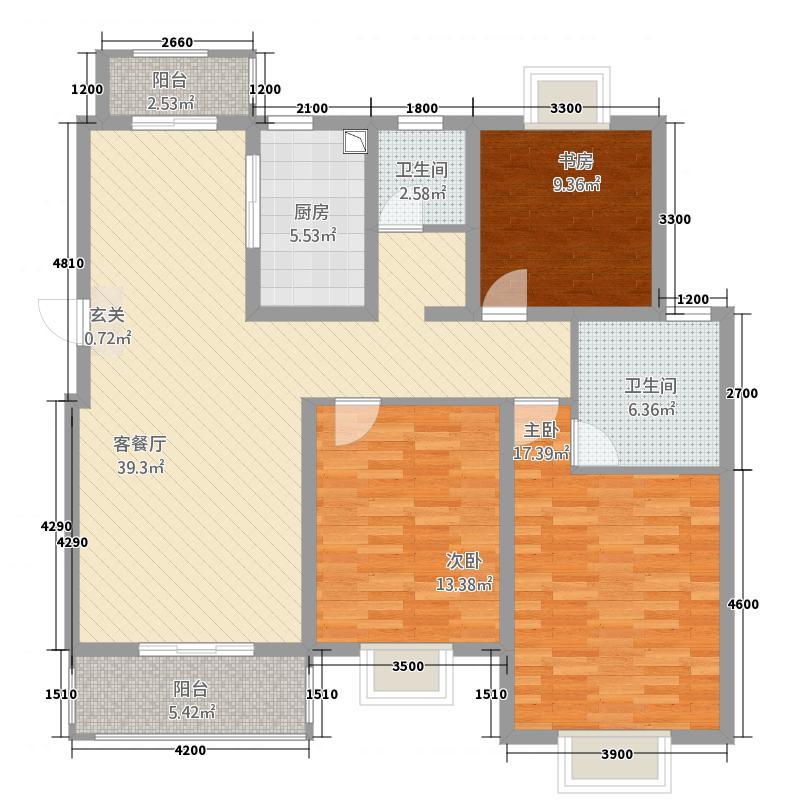 嘉逸・岭湾128.46㎡畔岛二期B户型3室2厅2卫1厨