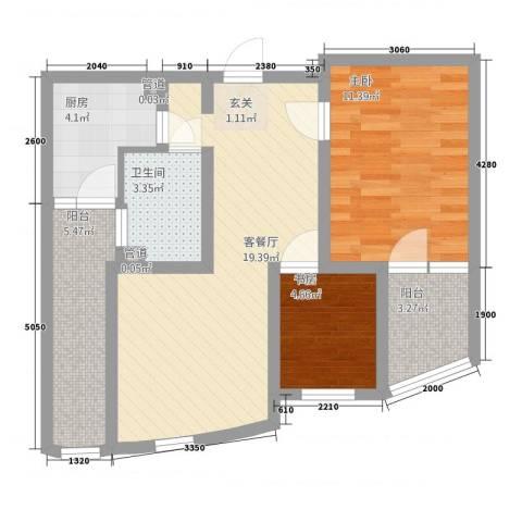 格林星城悦府2室1厅1卫1厨77.00㎡户型图