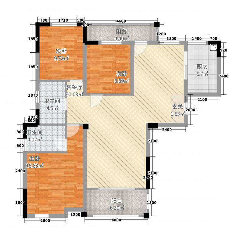 鸿申翡翠城8128.22㎡户型3室2厅2卫