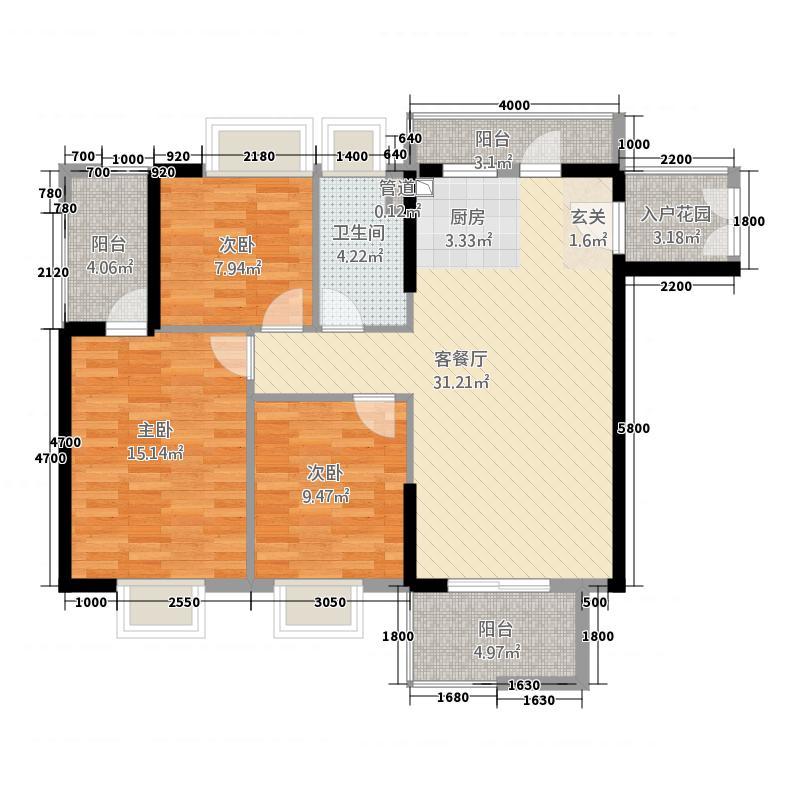 世纪名门3431.20㎡3户型3室2厅1卫1厨