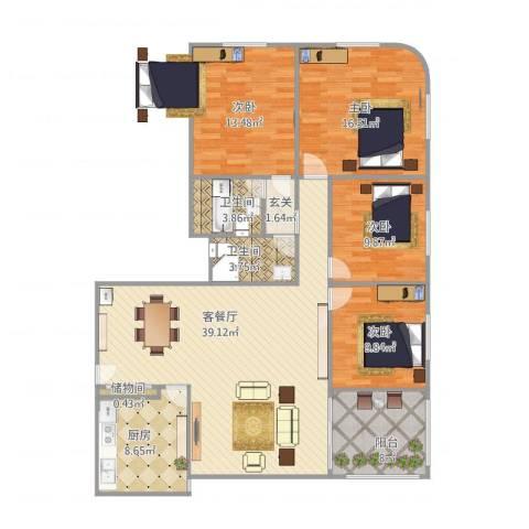 国际友谊花园4室1厅2卫1厨155.00㎡户型图