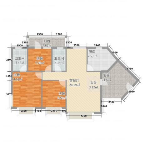 雍晟时代明苑3室1厅2卫1厨127.00㎡户型图