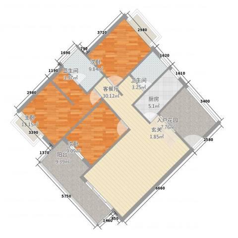 穗东大厦3室1厅2卫1厨128.00㎡户型图